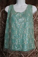 VINTAGE 50s MADE IN HONG KONG Blue sequin/beaded SLEEVELESS wool BLOUSE 40  B5