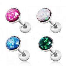 New Surgical Steel Tragus Cartilage Bar Stud with Synthetic Opal Stone 16g