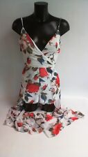 Parisian Chiffon Wrap Playsuit White//Floral UK Size 10 #19R379