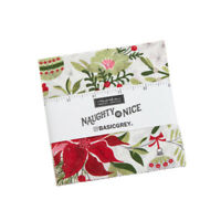 "CHARM PACK~NAUGHTY OR NICE~MODA FABRIC~42-5"" SQUARES~CHRISTMAS~30630PP~BASICGREY"