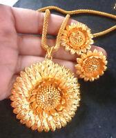 22K Gold Plated Indian 16'' Long Chain Pendant Earrings Bridal Set DIWALI SALE,g