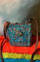 Fossil Keyper Blue Multi-Color Coated Canvas Credit Card Slots Zip Shoulder Bag