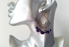 Gorgeous antique - vintage silver tone & AB purple diamante bead drop earrings