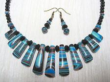 TURQUOISE ZEBRA MALACHITE GEMSTONE Healing Bib Bead Necklace & Earrings Gift Set
