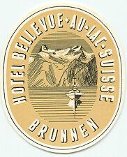 BRUNNEN SWITZERLAND HOTEL BELLEVUE AU LAC SUISSE VINTAGE LUGGAGE LABEL