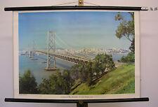 Beau la fresque Oakland-Bay-Pont à San Francisco 75x52cm VINTAGE MAP ~ 1959