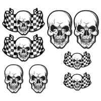 CHEQUERED FLAG SKULL LAMINATED STICKER SET Car Motorbike Cafe Racer decals