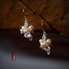 Boucles d'Oreilles Perles de Culture D'eau Douce Rose Goutte Zirocon Cadeau