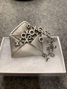 """JJ"" Jonette Jewelry Silver Pewter 'HUGS & Kisses in Envelope' Pin"