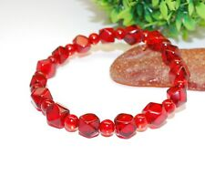 Cut Beads Flexible Size Bracelet Amber Bracelet Ruby Genuine Amber Angular