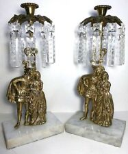 ANTIQUE FRENCH BRONZE CANDELABRAS PAIR CANDLEHOLDERS PRISM ENGRAVED CRYSTALS 14""