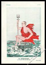1931 LES AUTOMOBILES ROSENGART CARICATURE M. ROSENGART OU LE CHAR DE NEPTUNE