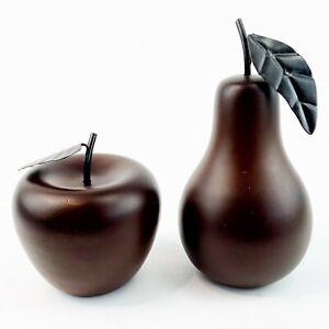 "Decorative Apple and Pear Dark Brown Metal Stem Leaf Decorative Faux Fruit 4"" 7"""