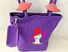"Get Lucky Purple Red Hat Lady 6X9X12"" Messenger Shoulder Bag Purse with 2 Straps"