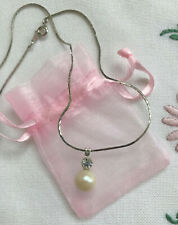 Faux Pearl & Rhinestone Pendant on Silver Tone Chain Necklace Simple Gift Bag