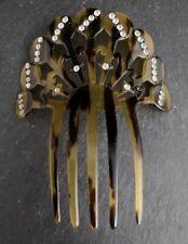 Art Deco Vintage Peine de Cabello, Carey y diamante de imitación, Mantilla Peine