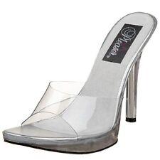 Pleaser Vogue 01 Clear Low Platform Mules Shoes Size UK 2