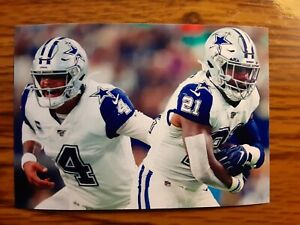 Ezekiel Elliott Dak Prescott Cowboys Football 4x6 Game Photo Picture Card