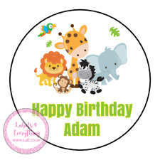 Personalised Jungle Safari Animals Birthday Thank You Party Stickers Sweet Cone