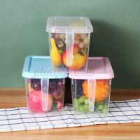 4L Kitchen Fridge Organizer Clear Storage Box Egg Fruit Food Container W/ Handle