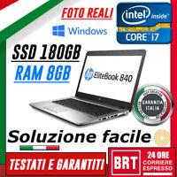 """PC NOTEBOOK PORTATILE HP Elitebook 840 G1 14"""" CPU i7 8GB RAM SSD 180GB +WIN 10!!"""
