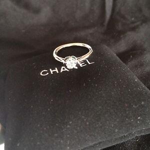 Chanel platinum camellia diamond ring