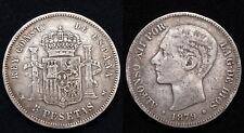 Espagne 5 Pesetas 1879M (EM-M) Madrid Alphonso XII - Argent 24.60 gr