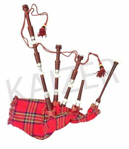 Scottish Great Highland Bagpipe Rosewood Natural Finish Silver mounts