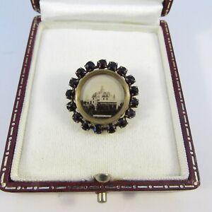 Vintage Small Edwardian Garnet Paste Stone Oval Photo Frame Brooch Pin