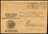 GERMANY Statistical Office NSKK First Reich Competition Cancel Cover Postage