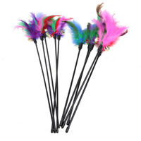5pcs Cat Kitten Pet Teaser Turkey Feather Interactive Stick Toy Wire Chaser NEW