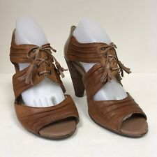 Seychelles Womens Size 9 Boho Heels Brown Leather Tassels