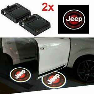 2 x For JEEP Car Door Welcome LED Lights Courtesy Projector Ghost Shadow Sticker