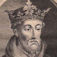 Portrait XVIIIe Jean Sans Terre Roi d'Angleterre Seigneur Irlande Oxford Newark