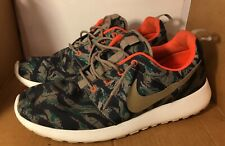 Mens Nike Roshe Run Tiger Camo Olive Green Running Sneakers 655206-203 Size 11.5