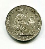 PERU UN 1 SOL PLATA 1869  SC UNC BRILLO ORIGINAL