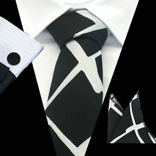 Nero 100% PURA SETA Cravatta & Fazzoletto Gemelli Set Bianco MODELLO A ROMBO
