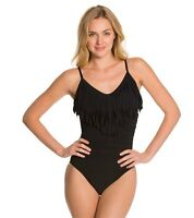 Magicsuit Solid Fringe Blaire One Piece Swimsuit Sz 10 54029