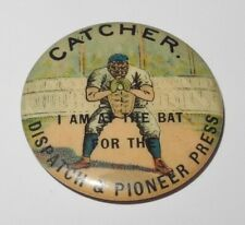 1896 PD1 Baseball Player Catcher Position Dispatch Pioneer Press Advertising Pin
