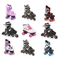 Childrens Size Adjustable Quad Inline Boys Girls Roller Skates & Girls LED Skate