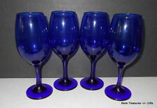 Dark Cobalt Blue Stemmed Wine Glasses Set of 4