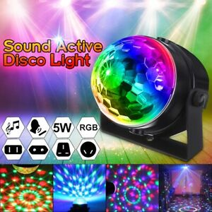 Sound Activated Rotating Disco Ball DJ Party Light 5W RGB Crystal Magic Ball UK