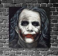 Joker Oil Painting Portrait Art Heath Ledger Hand-Painted Canvas Halloween Art