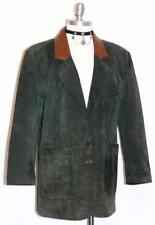 LEATHER ~ GREEN Women German Winter Hunting Western Riding JACKET Over Coat 14 L