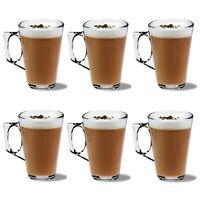 6 LATTE GLASSES Cups Mugs Coffee Tea Cappuccino Glass 240ml Mugs Hot Cold Drink