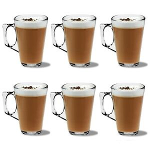 6 LATTE GLASSES for Coffee Tea Cappuccino 240ml Costa Hot Cold Drink Cups Mugs