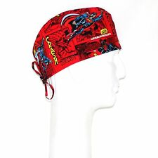 Flying Superman on Red Theme Scrub Hat