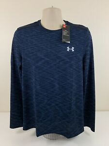 Under Armour Dark Blue Heather Fitted Shirt Mens Size M Medium L/S MSRP $45 NEW