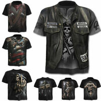Punk Men's Funny Skull 3D Print T-Shirt Summer Casual Short Sleeve Tee Tops