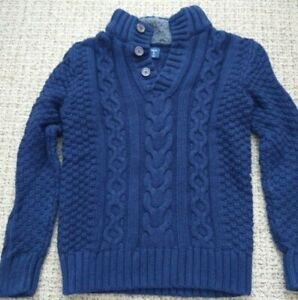GAP - Boys Navy Cable Knit Sweater w/ Sherpa Lined Collar SIZE M (8)